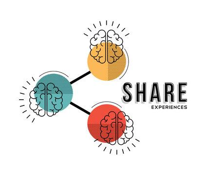 Teamwork share experiences line art concept illustration