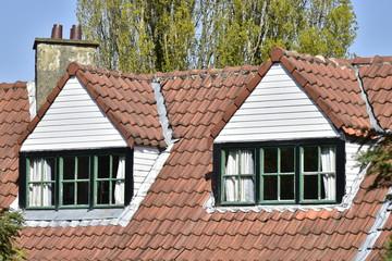 lucarnes en haut de toiture avec ses chassis typiques en noir et vert de la cit - Lucarne Moderne Et Toit Tuile