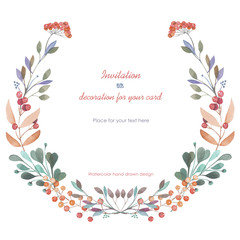 Circle frame, wreath of the pink and green branches and berries, hand drawn in a watercolor on a white background, greeting card, decoration postcard or invitation