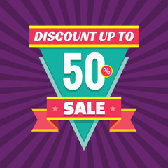 Sale discount up to 50% vector banner concept illustration. Sale vector layout. Sale triangle badge with ribbon. Discount sticker.