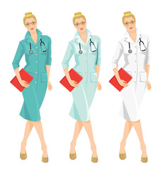 Vector illustration of young doctor holding a folder isolated on white background. A blond serious woman in medical gown. Different color of medical uniform.