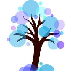 vector winter tree blue circle
