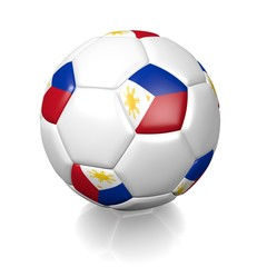 Football soccer ball with a national flag texture