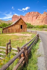 Gifford Barn by a road in Capitol Reef National Park, USA