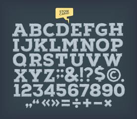Stone made ABC. Vector alphabet.