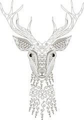 Zentangle stylized deer head, black and white, hand drawn, vector illustration