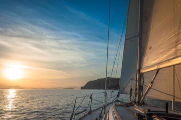 Sailing in the Sunrise, Gulf of Naples, Ischia, Italy
