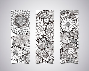 Identity banners with vector black and white zendoodle tattoo fl