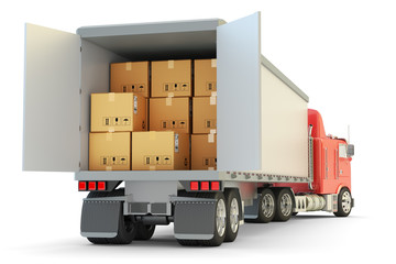 Freight transportation, packages shipment and shipping goods concept, cargo loading and unloading operations, delivery truck full of cardboard boxes isolated on white