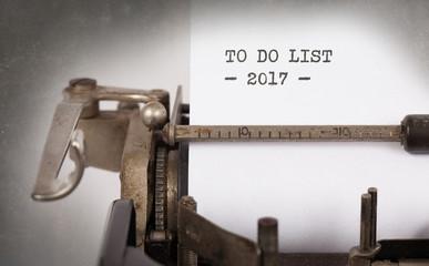 Vintage typewriter  - To Do List 2017