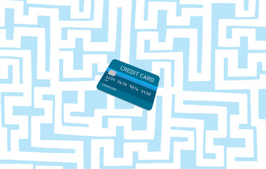 Credit card hidden in complex maze or labyrinth