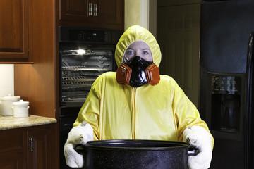 Kitchen disaster in kitchen with HazMat Suit