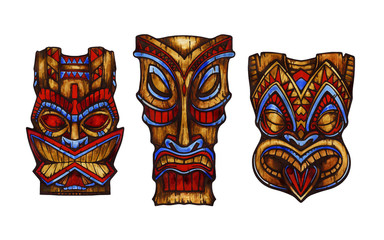 Hawaiian tiki god statue carved wood. Watercolor illustration