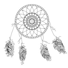 dream catcher with decorated feathers