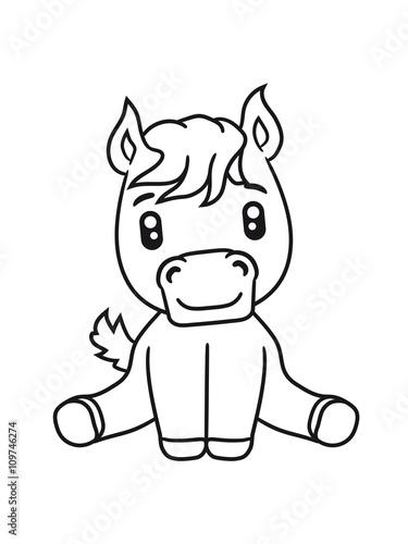 Sweet Cute Sitting Comic Cartoon Pony Horse Pferdchen Kawaii Child