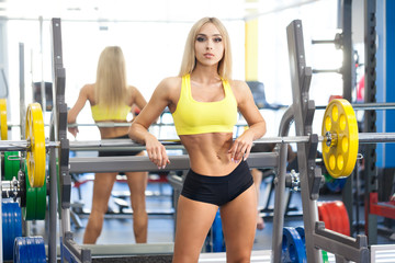 Fitness blonde woman at the gym