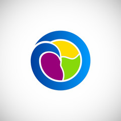 round abstract eco colored logo