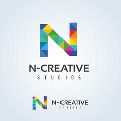 Business corporate letter N logo design vector. Colorful letter N logo vector template. Letter N logo for technology.