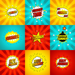Set of color summer banners in pop art style. Decorative collection of backgrounds with bomb explosive. Vector illustration.