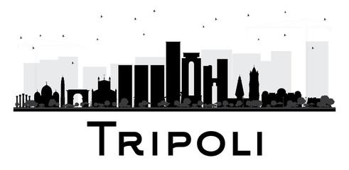 Tripoli City skyline black and white silhouette.