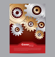 Book Cover with Technology Gears Background