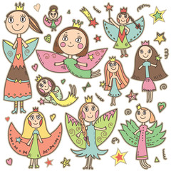 Set of cute lovely fairies in children's drawing style.