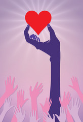 A vector illustration of a hand holding a big, red heart high while a crowd of smaller hands reach towards this symbol of love.