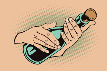 Style of pop art. Hands with a bottle.