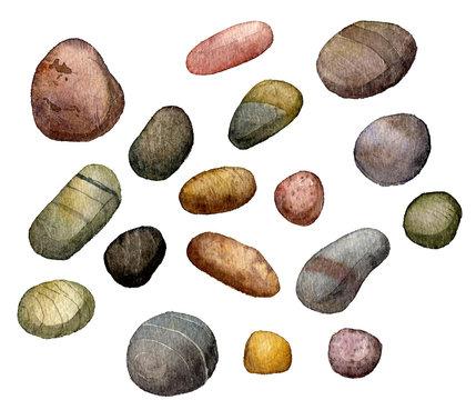 sea stones drawing in watercolor