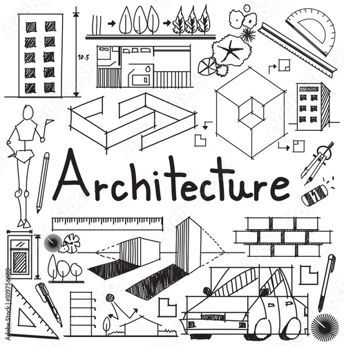 interior design and building blueprint profession and education handwriting doodle tool sign and symbol in white - Interior Design Blueprint