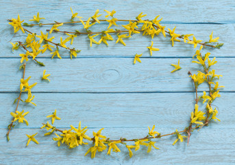Spring yellow flowers on old blue wooden background