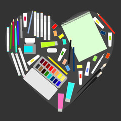 Love to draw. Watercolor paints, pencils, sketchbook, brushes , markers in frame with heart. Vector illustration.