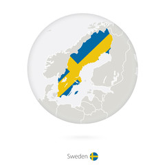 Map of Sweden and national flag in a circle.