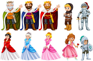 Different fairytales characters on white background