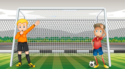 Goalkeeper and referee in the field