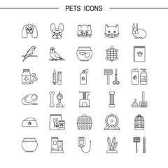 Pets shop icons. Thin lines icon style.  It can be used as logo, pictogram, icon, infographic element. Vector Illustration.