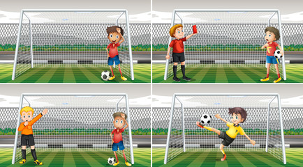 Four scenes of goalkeepers in the field