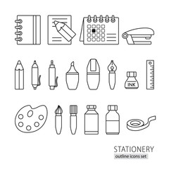 Collection of line style stationery pen, pencil, ruler, brush