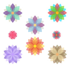 Set of stylized flowers (blooms).