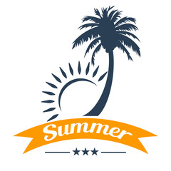 Summer tropical palm tree and sun design