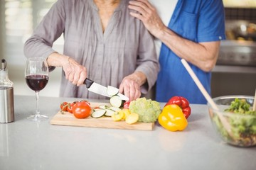 Midsection of senior man standing with woman cutting salad
