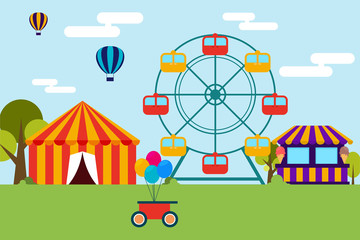 Flat design of amusement park and canival