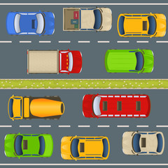 highway traffic top view