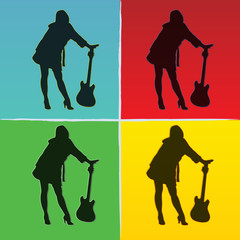 pop art illustration of girl with guitar