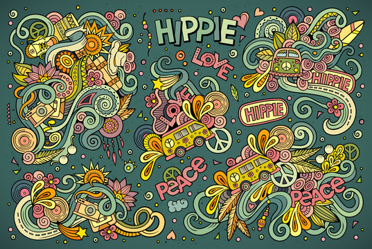 Colorful set of hippie objects