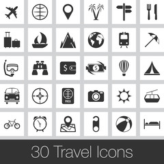 Travel Icons. Vector Icon Set. Pictogram About Travel
