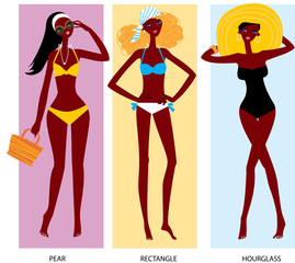 Black women in swimming suits. Black woman body types. Woman body shapes. Triangle, rectangle and hourglass body types.