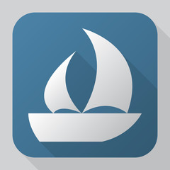 Sailing ship icon. Modern flat vector icon with long shadow effe