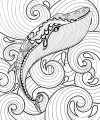 Vector zentangle whale in sea, print for adult coloring page A4