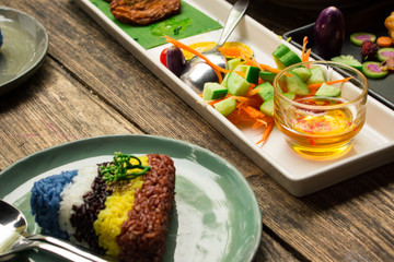 colourful rice with decorative fusion food, healthy food